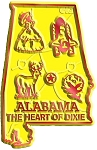 Alabama The Heart Of Dixie Map Fridge Magnet