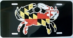 Maryland Crab with Flag Design License Plate