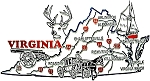 Virginia Jumbo Sate Map with Deer Head Fridge Magnet