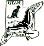 Utah State Outline with California Gull and Flowers Fridge Magnet