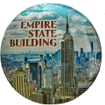 Empire State Building Round Glass Fridge Magnet