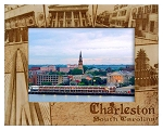 Charleston South Carolina Collage Laser Engraved Wood Picture Frame