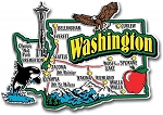 Washington Jumbo State Map Fridge Magnet