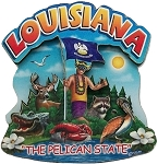 Louisiana the Pelican State Artwood Montage Fridge Magnet