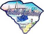 South Carolina State Outline Foil Fridge Magnet