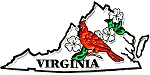 Virginia State Outline with Cardinal and Flowers Fridge Magnet