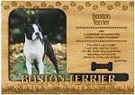 Boston Terrier Engraved Wood Picture Frame Magnet