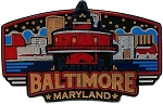 Baltimore Maryland Skyline Fridge Magnet
