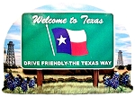 Texas State Welcome Sign Artwood Magnet