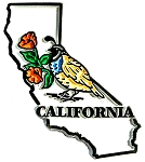 California State Outline with Valley Quail and Flowers Fridge Magnet