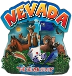 Nevada the Silver State Artwood Montage Fridge Magnet