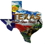 Texas The Lone Star State Jumbo Artwood Foil Fridge Magnet