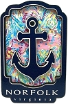 Norfolk Virginia with Anchor Artwood Fridge Magnet
