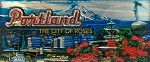 Portland Oregon The City of Roses Foil Panoramic Fridge Magnet