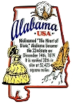 Alabama The Heart Of Dixie State Outline Montage Fridge Magnet