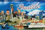 Seattle Washington with Space Needle Glass Fridge Magnet