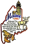 Maine The Pine Tree State Outline Montage Fridge Magnet