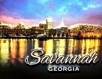 Savannah Georgia on the River Night Scene Highlight Fridge Magnet