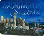 Seattle Washington Blue Skyline Montage 3D Fridge Magnet