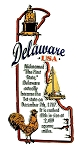 Delaware The First State Outline Montage Fridge Magnet