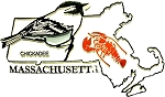 Massachusetts State Outline with Chickadee Fridge Magnet