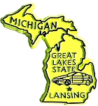 Michigan The Wolverine State Yellow Souvenir Fridge Magnet