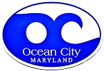 Ocean City Maryland Blue Wave Oval Car Magnet