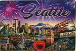 Seattle Montage Double Sided 3D Key Chain