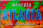 Atlanta Georgia The Peach State Glass Fridge Magnet