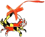 Maryland Crab Flag Design Metal Tree Ornament