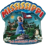 Mississippi the Magnolia State Artwood Montage Fridge Magnet