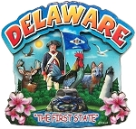 Delaware The First State Artwood Montage Fridge Magnet