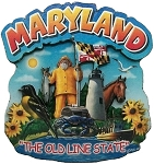 Maryland the Old Line State Artwood Montage Fridge Magnet