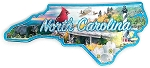North Carolina State Outline Foil Fridge Magnet