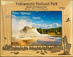Yellowstone National Park with Geyser Laser Engraved Wood Picture Frame