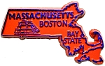 Massachusetts State Outline Souvenir Fridge Magnet