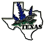 Texas State Outline with Mockingbird and Flowers Fridge Magnet
