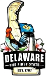 Delaware the First State Est. 1787 Artwood Fridge Magnet