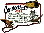 Connecticut The Constitution State Outline Montage Fridge Magnet