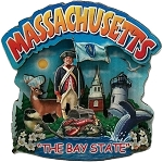 Massachusetts The Bay State Artwood Montage Fridge Magnet