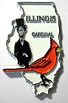 Illinois State Outline with Cardinal Fridge Magnet Design 1