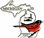 Michigan State Outline with American Robin Fridge Magnet