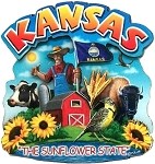 Kansas the Sunflower State Artwood Montage Fridge Magnet