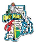 Rhode Island Jumbo State Map Fridge Magnet