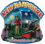 New Hampshire the Granite State Artwood Montage Fridge Magnet