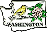 Washington State Outline with Goldfinch and Flowers Fridge Magnet