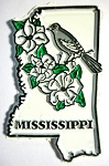Mississippi State Outline with Northern Mockingbird and Flowers Fridge Magnet Design 1