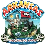 Arkansas the Diamond State Artwood Montage Fridge Magnet