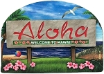 Hawaii State Welcome Sign Artwood Magnet