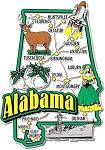 Alabama Jumbo State Map Fridge Magnet